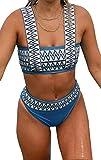 Bikinis Brasileños para Mujer Top Corto con Cuello Cuadrado Trajes de Baño a Rayas de Cintura Alta Ropa de Playa Conjuntos de Bikini