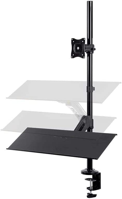 Monoprice Height Adjustable Gas Spring Sit Stand Monitor and Keyboard Riser Desk Mount - Black, 26 Inch Table Top Workstation   Easy to Use, Compatible with Most Desks