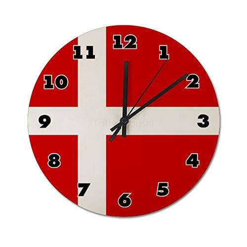 Pealrich Reloj de pared silencioso de 30 x 30 cm, con bandera danesa y bandera danesa, para casa, oficina, aula, escuela, fácil de leer