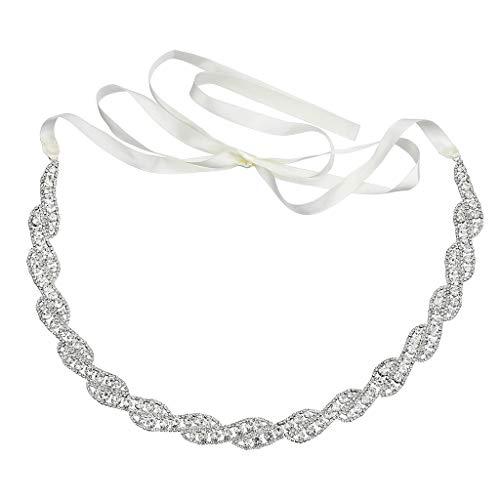 ZOOMY Donna Bridal Twist Intrecciato con Strass Applique Cintura Abito da Sposa Sash Gioielli Damigelle Abito da Sera Perline - Argento