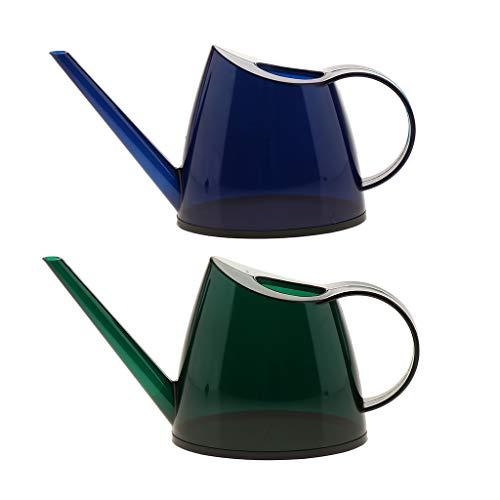 F Fityle Paquet de 2 Arrosoir en Plastique Arrosoir Jardinage pour Plantes Fleurs Home Decor Vert + Bleu