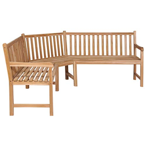 Tidyard Garten-Eckbank 202×202×90 cm Massivholz Teak Acacia Wood Corner Bench with Folding Table Garden Furniture