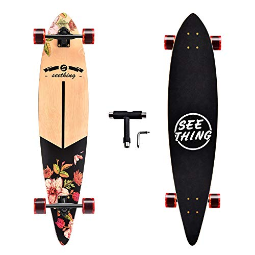 seething 42 Inch Longboard Skateboard Complete Pintail,The Original Artisan Maple Skateboard Pintail Cruiser for Cruising, Carving, Free-Style and Downhill(Bloom)
