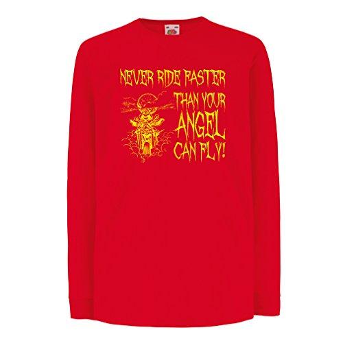 N4694D Kinder-T-Shirt mit Langen Ärmeln Motorrad-Angebote (14-15 Years Rot Mehrfarben)