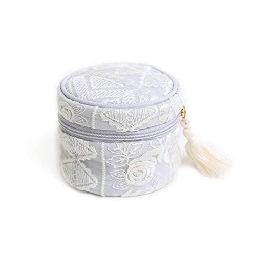 Exepests Sac à main for dames portables sac à cosmétiques couleur crème glacée doublure cordon design boîte de finition gland fermeture à glissière laine boîte à bijoux broderie sac simple princesse d