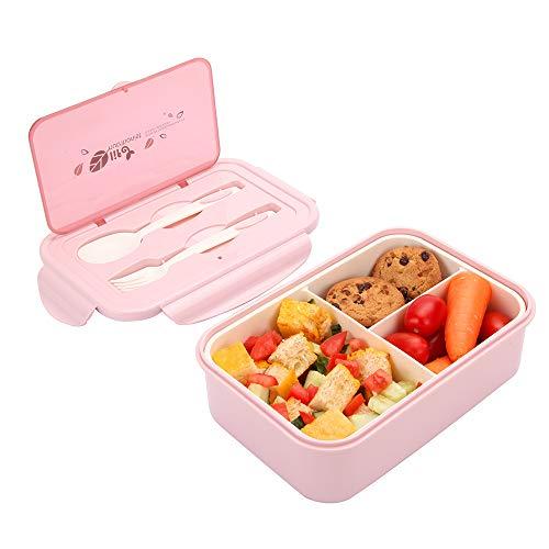 1050ml Caja de Almuerzo de Plástico Rosa Claro, Caja de Bento con 3 Compartimentos y Cubiertos (Tenedor y Cuchara),...