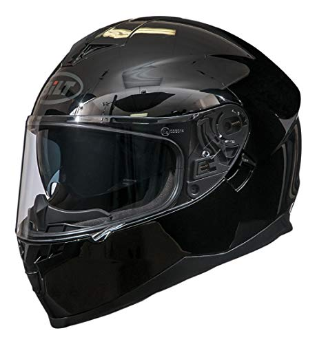 Bilt Force Drop Down Sun Shield Vented Air Flow DOT Sport Touring Street Bike Motorcycle Full Face Helmet - Black XS