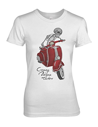 Crazy Vespa Rider Moped Scooter Damen T-Shirt Weiß Medium