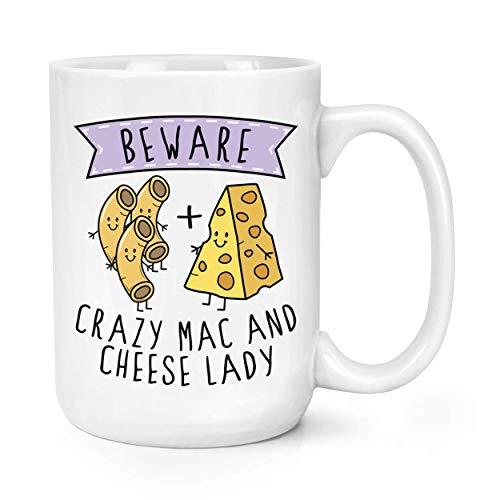 N\A Tazas de café de cerámica Divertidas, Cuidado con la Taza Grande de la Taza de la señora 11oz del Mac y del Queso Loco