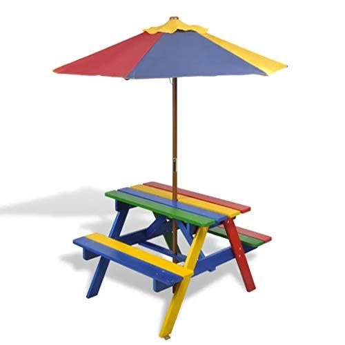 GOTOTOP - Mesa de picnic con sombrilla y banco de exterior de madera para niños, mesa de actividades al aire libre, muebles de jardín para niños