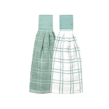 Ritz Kitchen Wears 100% Cotton Hanging Tie Towels, 2 Pack Checked And Solid, Dew, 2 Piece