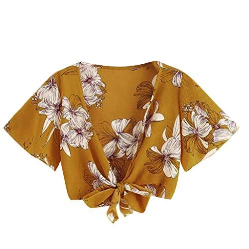TWIFER Sommer Damen T Shirt Gedruckt Kurzarm Bandage Hohl Hemd Pullover Tops Gestreiftes Damen Kurzarmoberteil