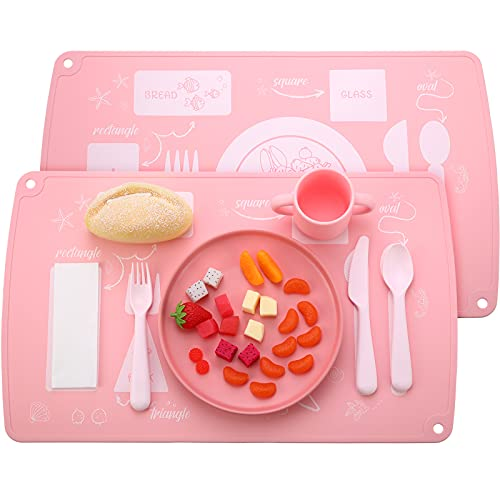2 Pieces Toddler Placemats Silicone Montessori Placemat Dining Table Setting Placemat Kid Educational Placemat for Baby Toddler Learn Etiquette Develop Independent Eating Skills (Pink)
