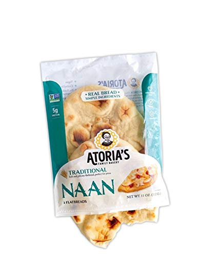 Atoria's Family Bakery Traditional Naan bread │ Vegan │ Perfect sandwich bread, pizza crust or hamburger buns │ Full case│ 8 packs of 2 flatbread │16 pieces of bread
