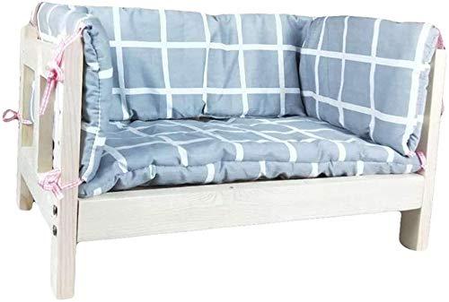 UIZSDIUZ Haustierbett Hundebett aus Holz mit Matratze und Zaun, for Welpen Katzen Hunde Indoor Outdoor Nutzung, Katzenbett (Color : Style1, Size : XXL(L110×W66×H50cm))