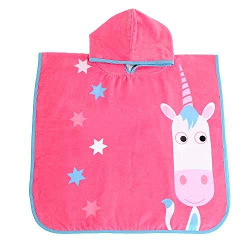 Ziggle poncho con capucha de la nadada toalla de baño de los cabritos del niño de secado rápido (eunice unicornio)