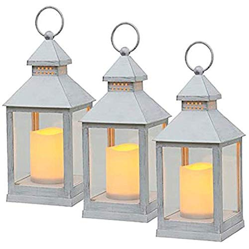 Astin of London 3 Pack Battery Powered Flickering Flame Effect Amber LED Candle Hanging Lanterns