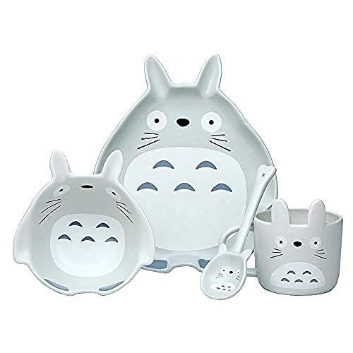 Dibujos animados japoneses Totoro cuenco de cerámica vajilla pintado a mano cuenco plato cuchara set creativo lindo niños vajilla-Traje Totoro de cuatro piezas