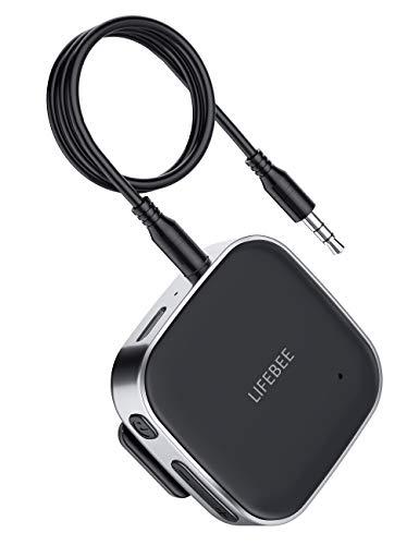 LIFEBEE Receptor Bluetooth 5.0, Transmisor Bluetooth Inalámbrico Portátil A2DP con Micrófono Incorporado, Jack 3,5mm Adaptador Audio Música para Sistema de Altavoces del Coche y Estéreo Doméstico