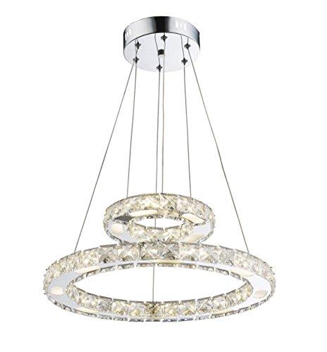 LED Kristall Decken Pendel Leuchte Wohn Zimmer Chrom Ringe Lampe verstellbar Globo 67037-24AA
