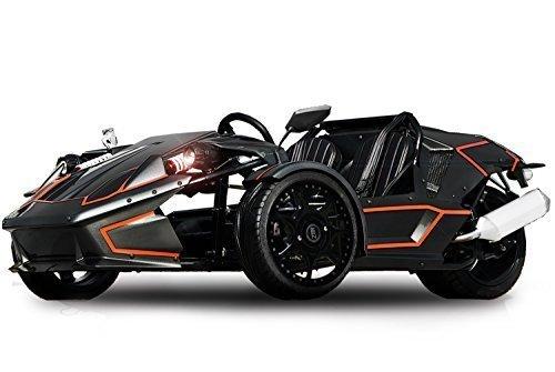 Nitro Motors ZTR 250cc Roadster 4V Trike 4-Gang + Rückwärtsgang Quad ATV Bike EEC (Weiß mit Schwarzen Streifen)