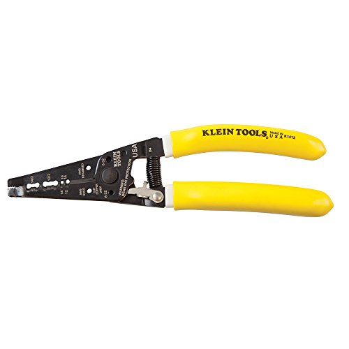 Klein Tools K1412 Wire Cutter / Wire Stripper, Dual NM Cable Stripper / Cutter Cuts Solid Copper Wire, Strips 12 and 14 AWG Solid Wire