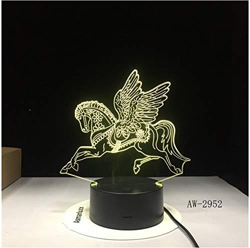 Tienen alas de unicornio con luz LED 3D de noche para 7 colores de luz para decoración del hogar caballo lámpara regalo increíble lámpara sin controlador 7 colores