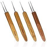 Sonku - Set di 4 uncinetti per capelli, con manico in bambù, da 0,5 mm,...