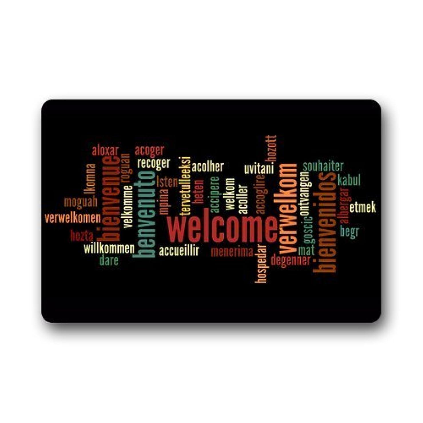 チャンススローガン出会いDoormat Custom Machine-Washable Door Mat Welcome in Various Languages Indoor/Outdoor 23.6 x 15.8 inch