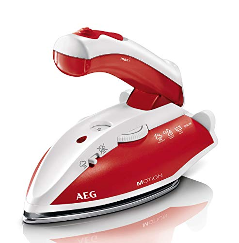 AEG DBT 800 Reise-Dampfbügeleisen / variabler, kontinuierlicher Dampf / ergonomischer Klappgriff / Reisebeutel / Edelstahl Bügelsohle / Dampfstoß 45g/Stoß / 60 ml Wassertank / 1,9 m Kabel / rot, weiß