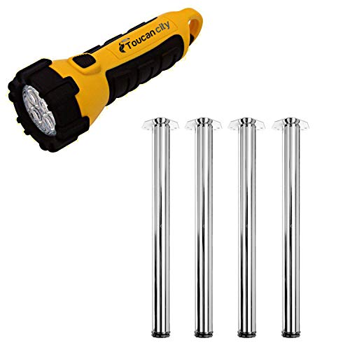 Toucan City LED Flashlight and Hettich 2-3/8 in. Adjustable 28 in. Chrome Steel Table Leg (Set of 4) 9265593