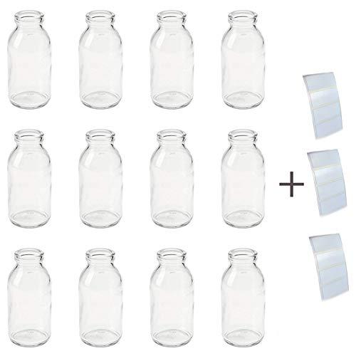 12 Stück (1,67€/Stück) kleine Vasen 10,5 cm Mini Flaschen Glas + 12 Klebestreifen extra stark haftend GRATIS zum selbst dekorieren