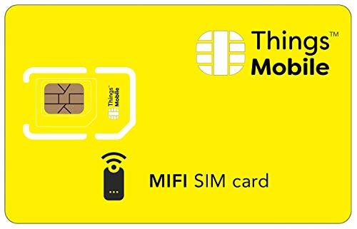 SIM-Karte für MIFI - Things Mobile - mit weltweiter Netzabdeckung und Mehrfachanbieternetz GSM/2G/3G/4G. Ohne Fixkosten und ohne Verfallsdatum. 10 € Guthaben inklusive