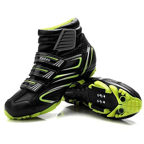 HaoLin Zapatos De Ciclismo De Bicicleta De Auto-Bloqueo Transpirables De Invierno Pedales SPD Zapatillas De Bicicleta De Bicicleta MTB,Green-46