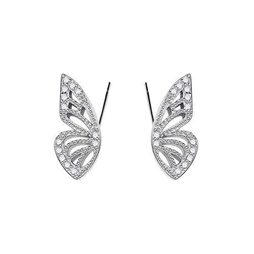 GALBLA Pendientes de tuerca con circonitas cúbicas y alas de mariposa, plata de ley 925