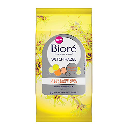 Bioré Witch Hazel Pore Clarifying Cleansing Cloths, 30 Count, with No-rinse Dirt and Oil Removal, for Acne Prone Skin