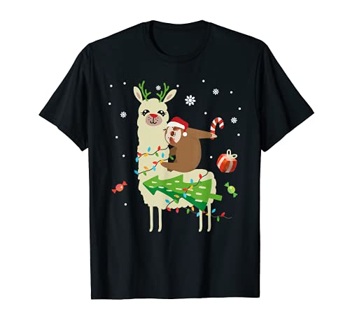 Babbo Natale bradipo cavalcano il lama renna alpaca regalo Maglietta