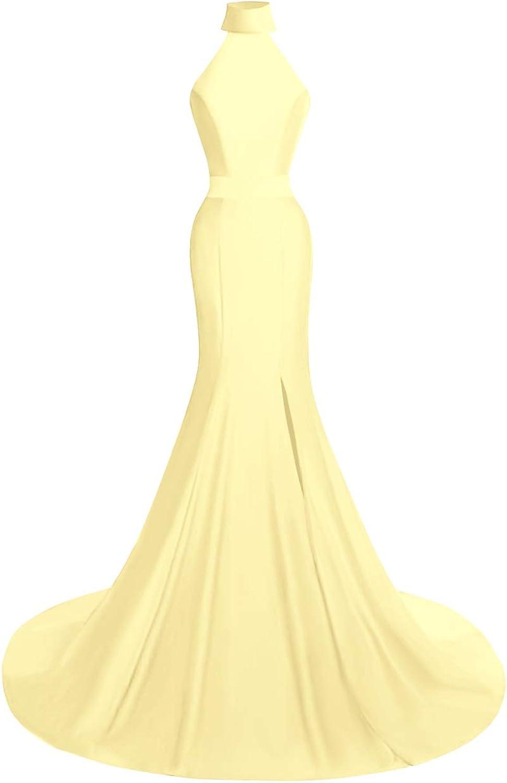 SUNFURA Women's Mermaid High Neck High Split Long Formal Prom Evening Dress