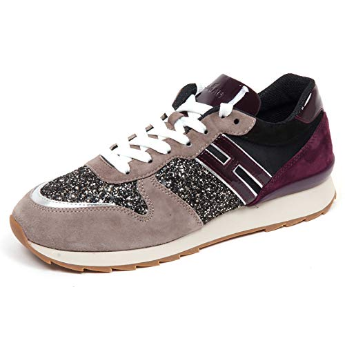 Hogan F7086 Sneaker Donna Taupe/Purple/Black R261 Scarpe Glitter Shoe Woman [36]