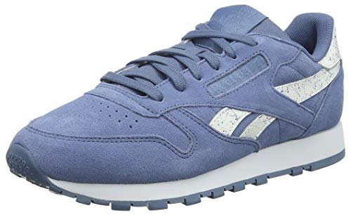 Reebok Damen Classic Leather Gymnastikschuhe, Blau (Sidestripes/Blue Slate/Whte Sidestripes/Blue Slate/Whte), 36 EU
