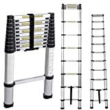 Soges 10.5ft Aluminum Telescopic Extension Ladder,12 Steps Extendable Telescoping Ladder with Spring Loaded