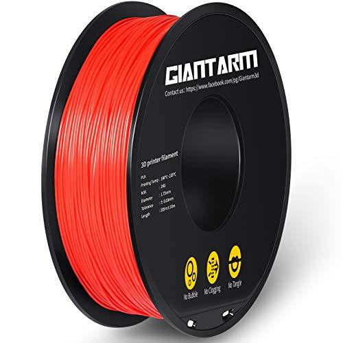 GIANTARM Filamento PLA de 1,75 mm para impresora 3D, filamento PLA de 1,75 mm, bobina de 1 kg, color rojo