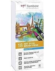 Tombow Dual Brush Pen, 18 stiften (secundaire kleuren), met twee punten + Fudenosuke Brush Pen hard + zacht, aquareleerbaar, op waterbasis, niet giftig, zuurvrij en geurloos