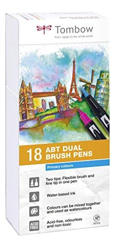 Tombow ABT-18P-1 Fiber Pen Dual Brush Pen con dos puntas Juego de 18 colores primarios