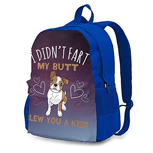 wobzfrok I Didnt Fart My Butt Blew You A Kiss Pug Novelty Youth Backpack School Bag for Traveling