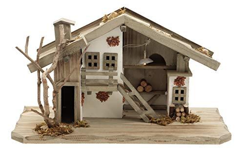 Holz Krippenstall, Weihnachtskrippe mit Licht 38*18*21cm (OHNE Krippenfiguren)