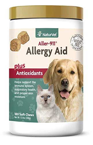 NaturVet – Aller-911 Allergy Aid Plus Antioxidants – 180 Soft Chews – Supports Immune System, Skin Moisture & Respiratory Health – Enhanced With Omegas, DHA & EPA – For Dogs & Cats
