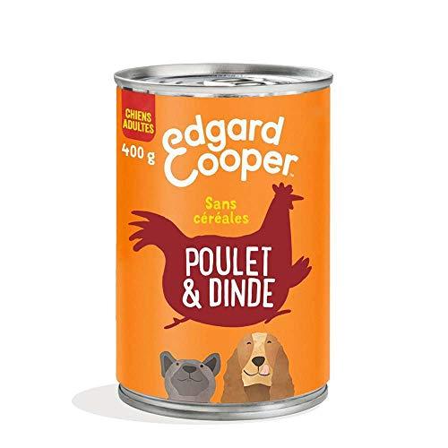 Edgard & Cooper Boite Patée Chien Adulte Sans Cereales Nourriture Naturelle 400g Poulet et Dinde Frais, Alimentation Saine Savoureuse et Equilibrée, Protéines de Qualité Supérieure