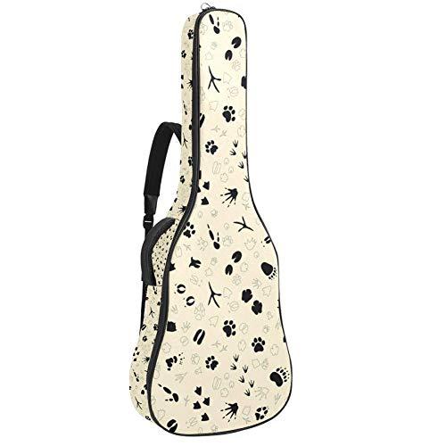 TIZORAX - Funda para guitarra acústica de invierno, diseño de ovejas, estrellas, impresión personalizada, tamaño completo, con asa acolchada, correa para el hombro