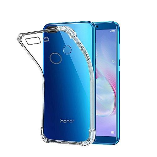 REY Funda Anti-Shock Gel Transparente para Huawei Honor 9 Lite, Ultra Fina 0,33mm, Esquinas Reforzadas, Silicona TPU de Alta Resistencia y Flexibilidad